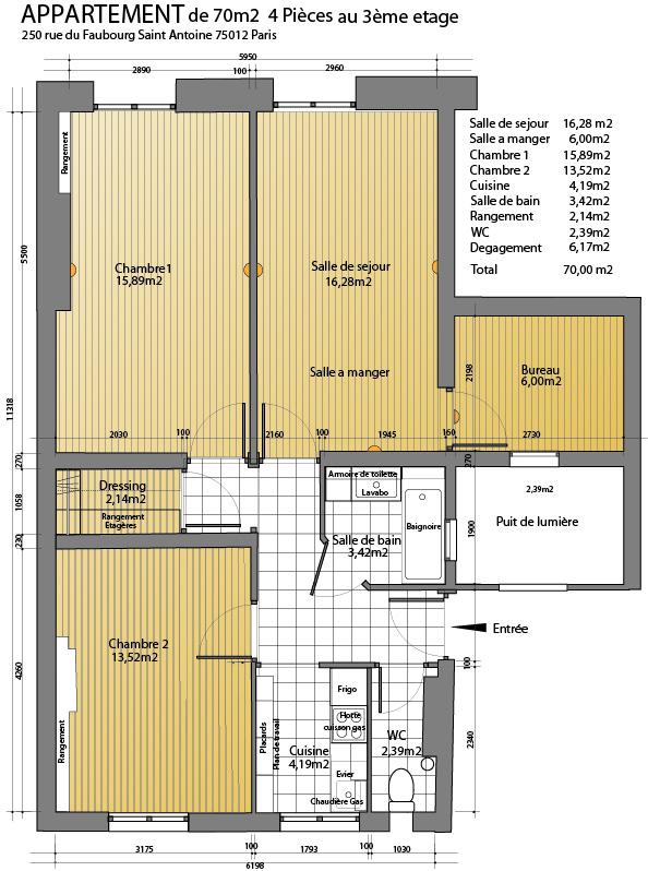 Location appartement par particulier, appartement, de 70m² à Paris 12