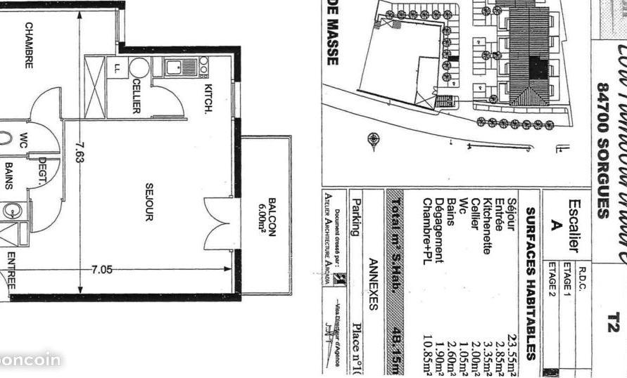 Location particulier Sorgues, appartement, de 48m²