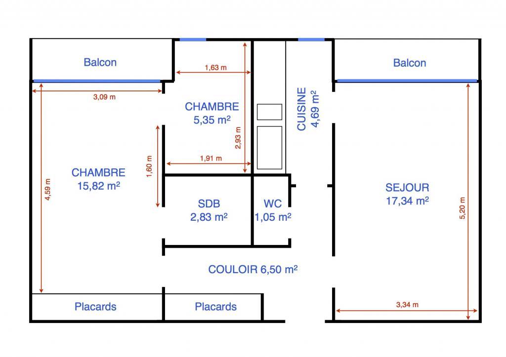Particulier location, appartement, de 54m² à La Falaise