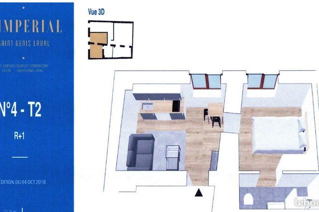 Location de particulier à particulier, appartement, de 28m² à Saint-Genis-Laval