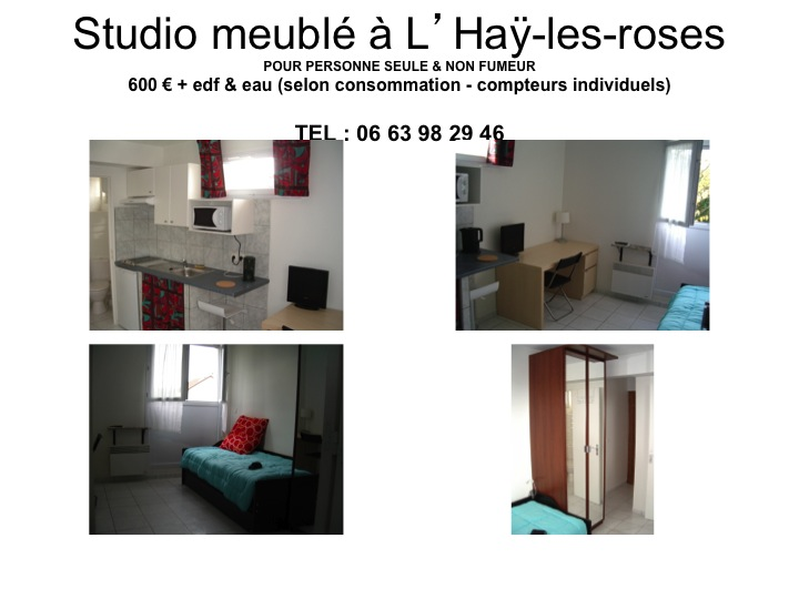 location de studio meubl de particulier l 39 hay les roses 600 18 m. Black Bedroom Furniture Sets. Home Design Ideas