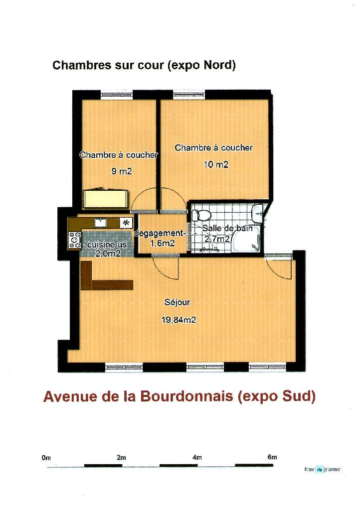location d 39 appartement t3 meubl entre particuliers paris 75007 2590 45 m. Black Bedroom Furniture Sets. Home Design Ideas