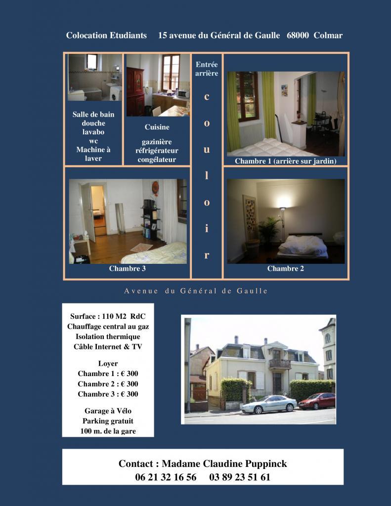 1 chambre disponible en colocation sur Colmar
