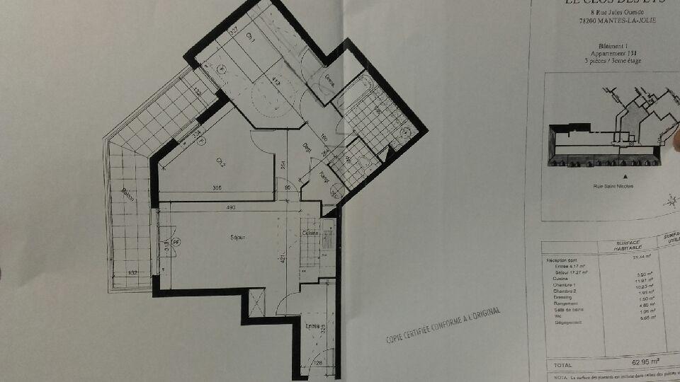 location d 39 appartement t3 de particulier particulier mantes la jolie 895 64 m. Black Bedroom Furniture Sets. Home Design Ideas