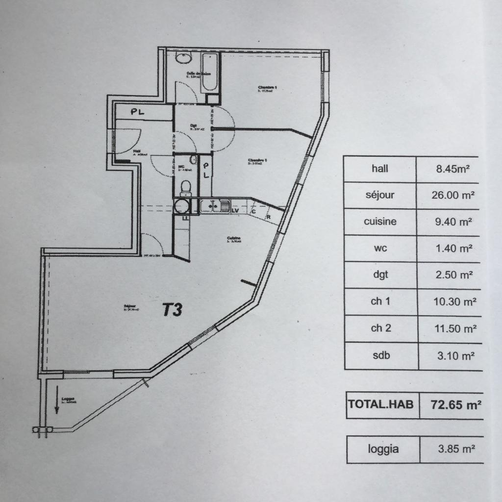 Appartement de 73m2 à louer sur Beziers