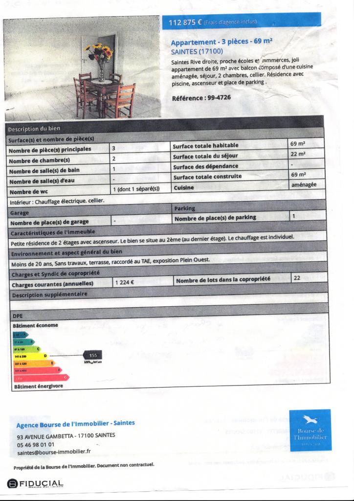location d 39 appartement t3 de particulier saintes 640 69 m. Black Bedroom Furniture Sets. Home Design Ideas