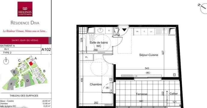 Location particulier à particulier, appartement, de 42m² à Saint-Jean-de-Védas