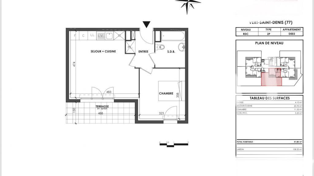 Particulier location, appartement, de 42m² à Vert-Saint-Denis