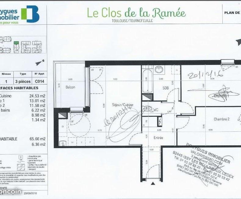 De particulier à particulier Tournefeuille, appartement appartement de 65m²