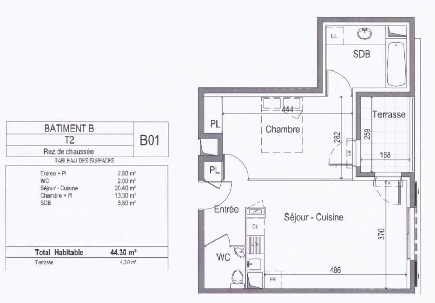 Particulier location, appartement, de 44m² à Mauguio