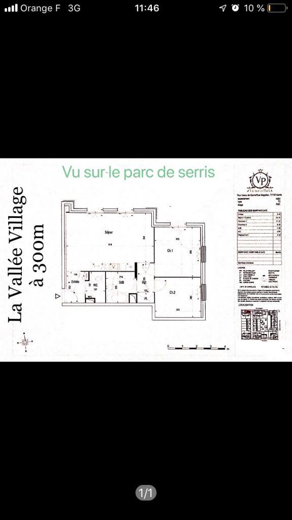 Location particulier à particulier, appartement, de 59m² à Magny-le-Hongre