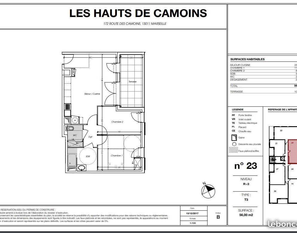 Location appartement entre particulier Marseille 11, appartement de 56m²