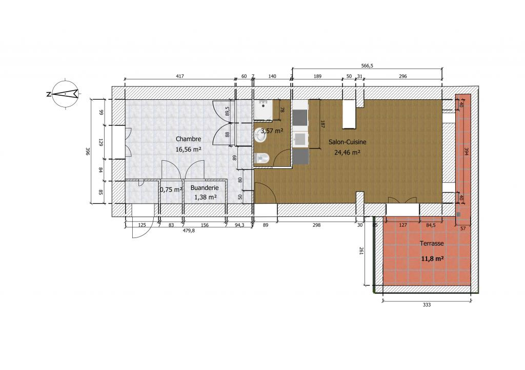 Appartement particulier, appartement, de 54m² à Carcassonne